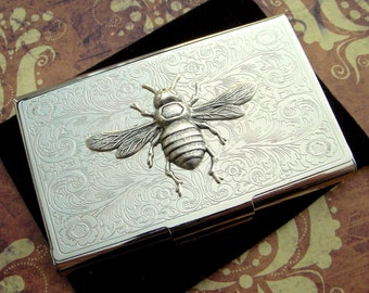 Silver Bee Business Card Case Steampunk Style Gothic Victorian Scroll Pattern Bee Card Handcrafted Holder Vintage Inspired Silver Card Case