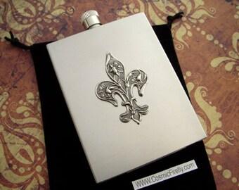 Silver Fleur De Lis Flask Vintage Inspired Art Nouveau Art Deco Rectangular Square Edges Stainless Steel Steampunk Style