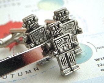 Robot Cufflinks & Robot Tie Bar Men's Cufflinks Set 3 Silver Plated Men's Gifts Steampunk Cufflinks By Cosmic Firefly