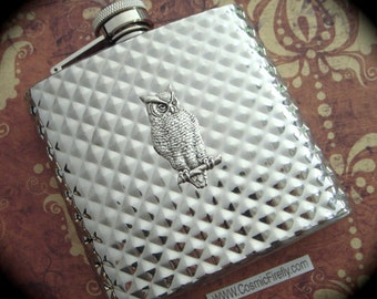 Diamond Owl Flask Industrial Steampunk Flask 6 oz Silver Flask Vintage Inspired Unisex Gifts For Her