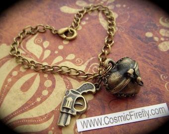Valentines Day Sale Steampunk Gun Charm Bracelet Heart Locket Bracelet Antiqued Brass Rustic Finish Fashion Jewelry By Cosmic Firefly