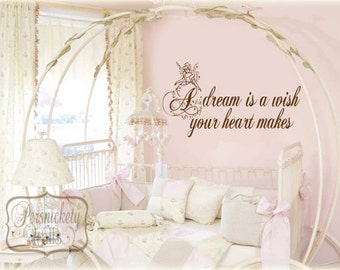 A dream is a wish your heart makes vinyl wall lettering with Cinderella silhouette vinyl wall art decal