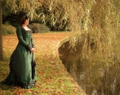 Victorian Steampunk Gown Natural Form style Dress Sample Sale Green