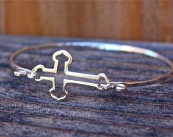 Cross Bracelet - Sterling Silver Bangle Bracelet - Cross Jewelry - Cross Bracelet - Religious Jewelry - Confirmation Jewelry