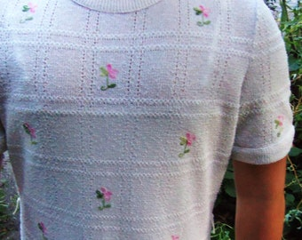 Vintage Crochet Sweater Dress Cream w/ Pink Rose Buds Pointille Boucle Tannel Knit size medium
