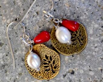 Bronze Earrings. EVERYDAY  Rustic Leaves Earrings. White Fresh Water Pearls - Red Coral Earrings Rustic Earrings.