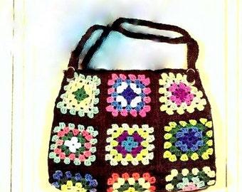 Granny Square Bag Purse Tote Crochet Pattern 723122