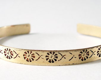Etched Brass Cuff Delicate Flowers No. 8