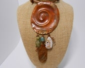 Statement Necklace Spiral Copper Apatite Ocean Jasper Garnet