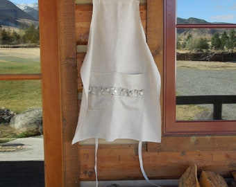 Linen Apron with Ruffle Pocket and Shell Buttons