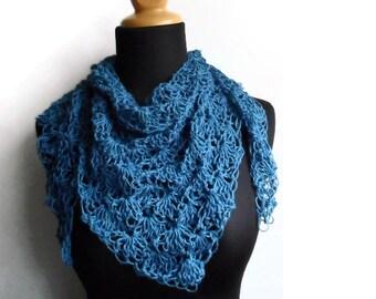 A Bit of Lace Hemp Triangle Scarf Boho bohemian organic scarf Ocean Blue Made To Order