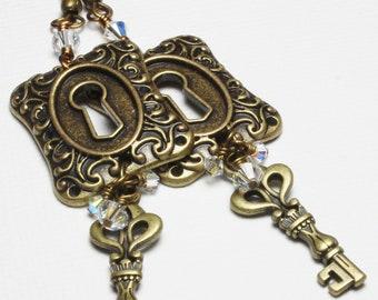 Steamy... Handmade Jewelry Earrings Beaded Steampunk Skeleton Keys Locks Metal Crystal Long Antique Brass Clear Iridescent  Long Dangle