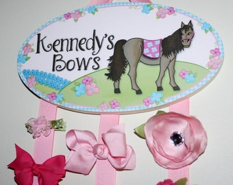 HAIR BOW HOLDER - Personalized Pink Blue Horse HairBow Holder - Bows and Clip Organizer - Girls Personal Hair Bow and Clip Hanger Hb0007