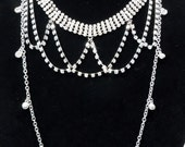 Rhinestone Chain Bib Necklace by Debbie Renee, Statement Necklace