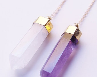 SALE Amethyst Point Gold Necklace