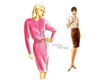90s Mock Wrap Dress Pattern, Very Easy Vogue 9284, Blouson Bodice, Tapered Skirt, Sizes 6 8 10 Uncut FF Easy Sewing Pattern