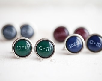 Mens Personalized cufflinks - Date cufflinks - Initial Cufflinks - Custom Color Wedding cufflinks - Red, Blue, Green (C024)