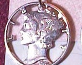 Silver Mercury Cut Coin Necklace Real Old Dime