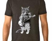 cat tshirt - mens tshirt - cat shirt - banjo shirt - cat gifts - cat lover gift - cat lover - music gift - BANJO CAT - music lover gift