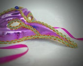 Venetian Carnival Costume Mask Photograph - 12x8 - drama, masquerade, theater, purple, pink, party, dress-up