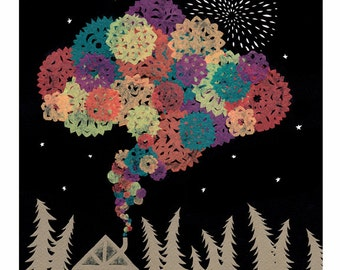 Good Things Billowing Into The Night - 8 x 10 inch Cut Paper Art Print