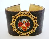 Leather Cuff Bracelet, Vintage Micro Mosaic Focal, Brown Gold Statement