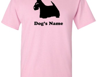 Scottish Terrier Scottie Dog Personalized T-Shirt with Dog's Name