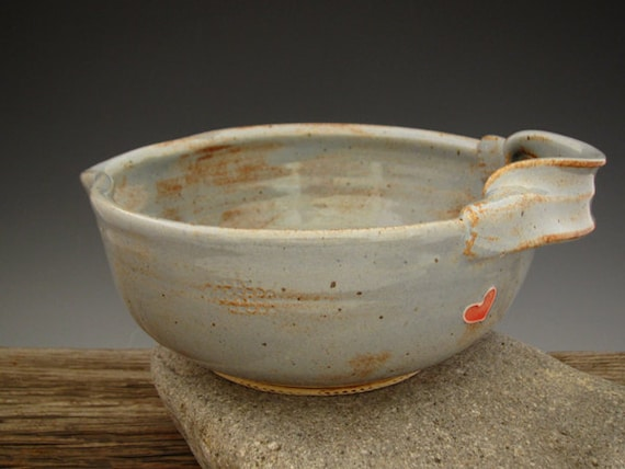 Batter Bowl in Country Blue - Red Heart - Omelette Bowl -  Mixing Bowl - Kitchen Bowl - Rust Pottery - by DirtKicker Pottery