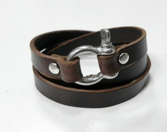 Leather Wrap Bracelet Leather Bracelet Leather Cuff with Metal Shackle Clasp Silver Tone in brown