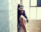 Juliet bridal cap halo headband with alencon lace, pearls, rhinestones in ivory