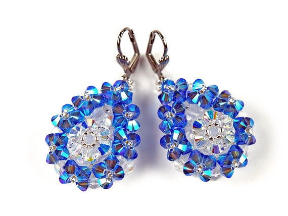 Handmade Earrings, Sapphire blue, Swarovski Crystal, Drop, Dangle, Bead-woven, Royal blue - on X-mas SALE, 20%OFF