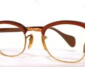 Gold & Cinnamon Cat Eye Glasses. Gorgeous Glowing Clubmaster Style Browline CatsEyes Eyeglass Frame Women's 12k GF Sunglasses Mad Men