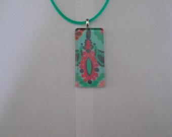 Preppy Glass Pendant, Colorful Glass Pendant, Women's Pendant/Necklace, Green Pendant/Necklace, Preppy Inspired Jewelry, Preppy