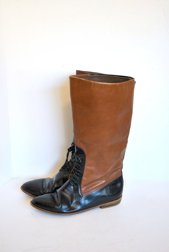 Vintage Equestrian Boots Lace Up Black And Brown By