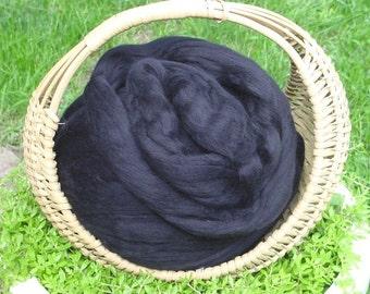 Merino Wool Roving, Black , 4 ounces