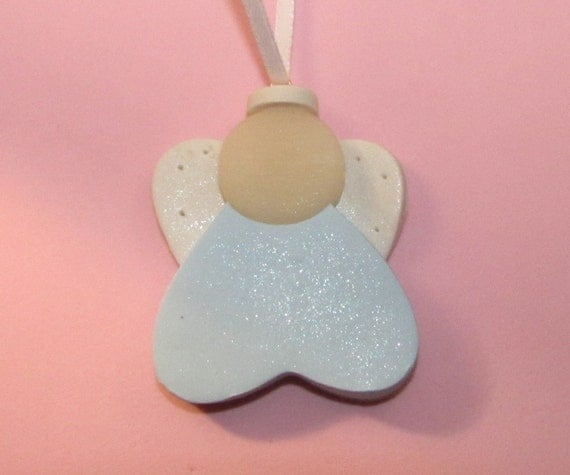 Baby Girl Christening Favors Glass Ornament: Baby's First Christmas ANGEL Ornament Boy Or By