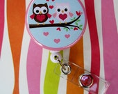 Owl Hearts Badge Holder ID reel 1.5 inch button