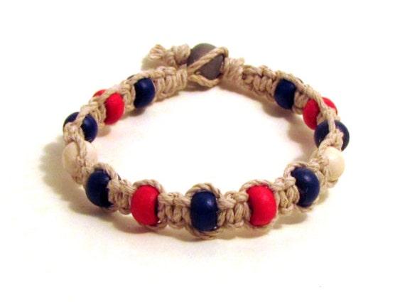 New York Giants Inspired Hemp Bracelet