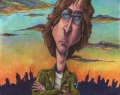 John Lennon Caricature Matted Print