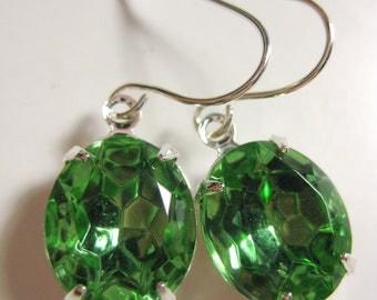 Green Vintage Crystal, Jewel Earrings, Light Green Earrings, Vintage Crystal Earrings, Apple Green, Peridot, August Birthday