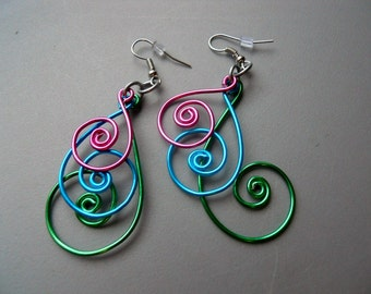3 inch Peacock Pink Green Blue Aluminum Wire Earrings