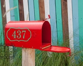 Mail Box Number with Border Reflective Vinyl Decal
