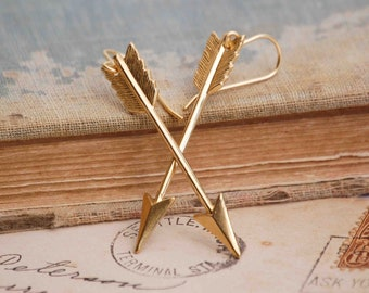 Gold Arrow Earrings Arrow Jewelry Gold Chevron Arrow Gift for Her Boho Arrow Jewelry Summer Festival Rustic Arrow Gold Dangle Arrow Earrings