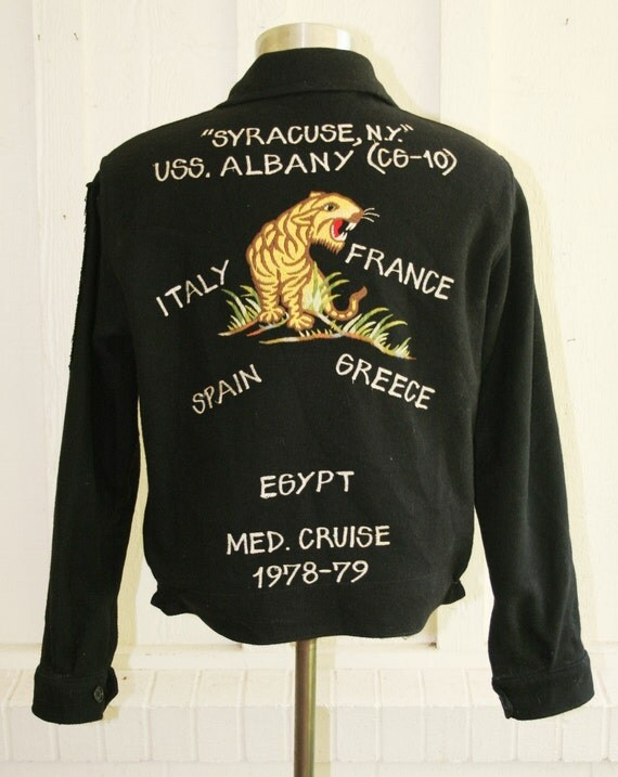 Cool On So Many Levels - Right Out of Robert Pattison's Closet - Authentic Navy Souvenir Jacket -  Circa 1978
