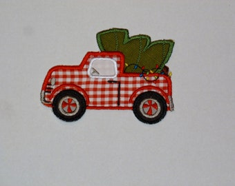 """Embroidered Iron On Applique  """"Christmas Tree Truck"""""""