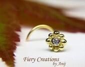 "Nose Screw/Tragus stud  ""Amazon Flower"" - 18k SOLID yellow & white Gold with Fine White Diamond, OOAK"