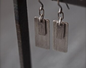 Industrial modern long hanging rectangle silver earrings