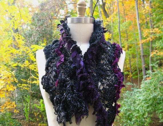 Reserved for Kat. Tattered black  purple SCARF/ Wrap
