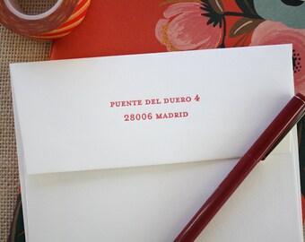Personalized Letterpress Printed Envelopes - Set of 12