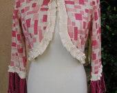 Women's Samll/Medium Upcycled Bolero Sweater- Geometric